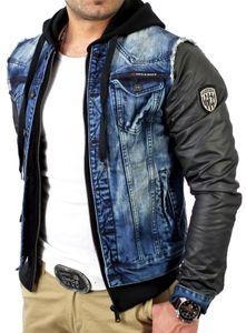 Cipo & Baxx Herren 2in1 Jeans Leder Jacke C-1290 Blau-Schwarz S