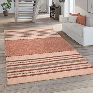 Teppich Wohnzimmer Kurzflor Baumwolle Handgewebt Fransen Streifen Apricot Rosa, Grösse:160x220 cm