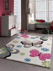 Kinderteppich Spielteppich Schmetterling Design Creme Pink Grau Grün Blau Größe - 120x170 cm
