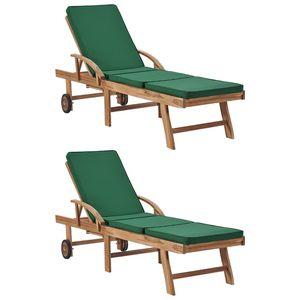 beraes Sonnenliegen mit Auflagen 2 Stk. Massivholz Teak Grün