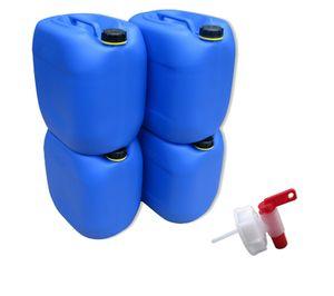 4 x 30 Liter Kanister Wasserkanister Campingkanister Farbe blau inkl. Auslaufhahn (4x30knb + H.)