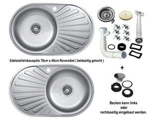 Edelstahl-Einbauspüle 78 x 48cm Küchenspüle reversible 1Becken mit Abtropffläche Edelstahlspüle Spülbecken