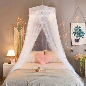 Prinzessin Moskitonetz aus Spitze Himmelbett-Moskitonetz Spitzen-Betthimmel für Kinder Fliegen und Insekten-Schutz und Dekoration Höhe 260 cm(Weiß)