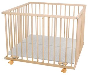 WALDIN Baby Laufgitter Laufstall ca. 100x100 BUCHE MASSIV, höhen-verstellbar, 2 Modelle wählbar, Größe:Natur/unbehandelt, Farbe:Ohne-Nestchen