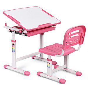 GOPLUS Kindertisch mit Stuhl, Kinderschreibtisch Hoehenverstellbar, Schülerschreibtisch Kindermoebel Neigungsverstellbar, Schreibtisch Kinder Rosa