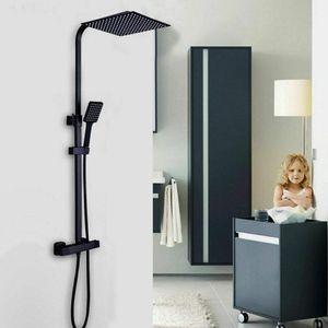 Duschsystem mit Thermostat Thermostat Duscharmatur Regendusche Duschset Schwarz  Duschkop mit Handbrause Edelstahl