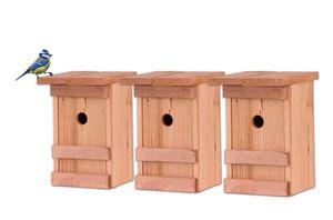 3x Nistkasten Meisen Meisennistkasten Nistkästen Vogelhaus Vogelhäußchen Massivholz 25x14,5x12 cm