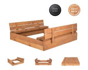 Sandkasten Sandbox Sandkiste aus Holz mit Klappdeckel Deckel Sitzbank 120x120cm Imprägniert