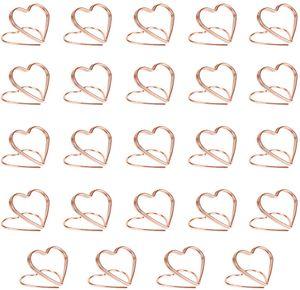 24 Stück Tischkartenhalter Herz Fotohalter Tischkartenhalter Memohalter Tischkarten Namensinhaber Bilder Clip Rosegold für Hochzeitsfeier Büro Restaurant