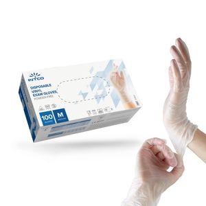 Einmalhandschuhe VINYL Handschuhe, reißfest   Latex-und puderfrei (100St./Box)  INTCO  Größe M