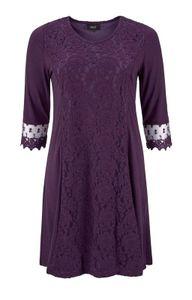 Zhenzi Damen Kleid mit Spitze, berry, Größe:M