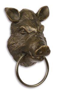 Casa Padrino Handtuchhalter Handtuchring Schweinekopf Gusseisen Antik Stil Jugendstil Deko