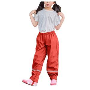 Dünne wasserdichte winddichte und atmungsaktive Regenhose für Kinder im Freien Größe:C,Farbe:Rot