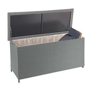 Poly-Rattan Kissenbox HWC-D88, Gartentruhe Auflagenbox Truhe  Premium grau, 63x135x52cm 320l