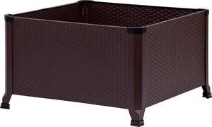 dobar Quadratisches Hochbeet mit Rattan-Optik Gr. L, Pflanzbeet aus kaltgewalztem Stahl, 60 x 60 x 36,8 cm, dunkelbraun