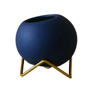 Mllaid  Keramik Sukkulenten Töpfe Kaktus Pflanze Blumentopf Mini Ball Form Porzellan Pflanzer mit Standfuß für Garten Home Dekoration Blau