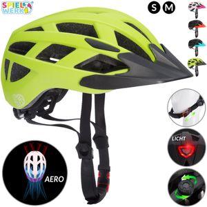 Kinderhelm Fahrradhelm Schutzhelm mit LED Kinder Junior Fahrrad Helm   Spielwerk, Farbe/Größe:Grün-Schwarz M