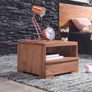 WERAN Nachttisch Massiv-Holz Akazie Nacht-Kommode 1 Schublade Ablage Nachtschrank Landhaus Echt-Holz