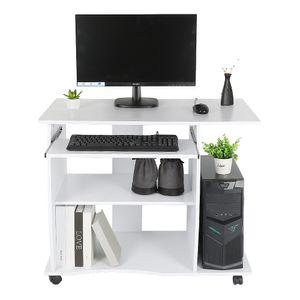 Computertisch PC-Tisch Schreibtisch mit Rollen  inkl. herausziehbare Tastaturauszug Ablage 90x50x75cm Weiß