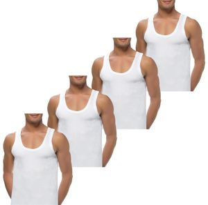 4 Herren Unterhemden extralang long 100% Baumwolle 5 / S Weiss