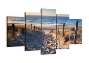 """Leinwandbild - 150x100 cm - """"Das Rauschen des Meeres, das Singen von Vögeln, ein wilder Strand zwischen den Gräsern ...""""- Wandbilder - Meer Strand Dünen  - Arttor - EA150x100-3612"""
