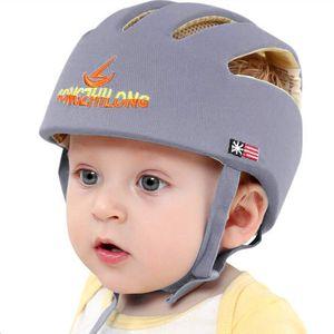 Baby Helm Kleinkind Schutzhut Kopfschutz Baumwolle Hut Verstellbarer Schutzhelm Grau