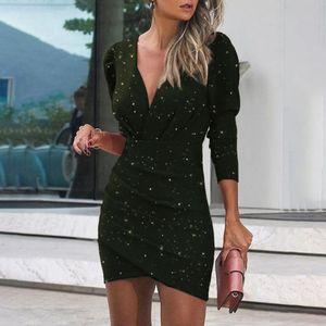 Fashion Woman Casual Sexy Drucken Enge Nachtclub Langarm Kleid Größe:XL,Farbe:Grün