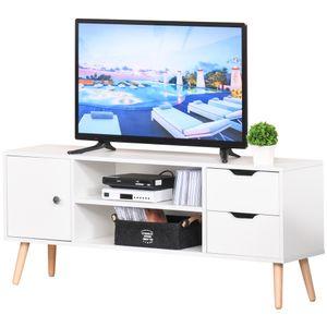 HOMCOM TV Lowboard Fernsehtisch Fernsehschrank mit Schrank 2 Schubladen Holzfüße Wohnzimmer Weiß 120 x 28 x 44 cm