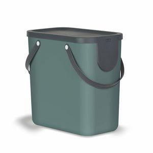 Rotho Albula Mülltrennungssystem 25l für die Küche, Kunststoff (PP) BPA-frei, dunkelgrün/anthrazit, 25l (40.0 x 23.5 x 34.0 cm)