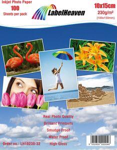 LabelHeaven Ltd 100 Blatt 10x15cm Fotopapier 230g/m² hochglänzend, wasserfest, Super weiss von LabelHeaven Ltd