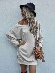Damen Oversized Long Shirt Off-Shoulder Dress Langarm Pullover Oberteil Legerer Longsleeve Kleid, Farben:Grau, Größe:M