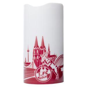 1. FC Köln LED Motivkerze weiß