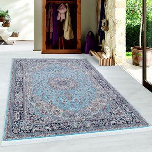 Orientteppich Kurzflor Teppich Orient Medaillon Muster Baumwollrücken Blau, Grösse:300x400 cm, Farbe:Blau