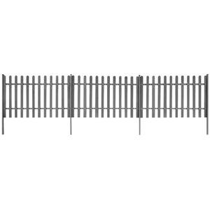 Outdoor Zaunelement Haselnuss - Holzzaun Gartenzaun Lattenzaun mit Pfosten 3 Stück WPC 600x100 cm #DE4781