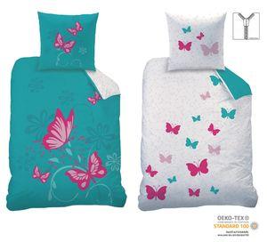 Wende Bettwäsche Set Butterfly Größe 135 x 200cm 80 x 80cm 100% Baumwolle Linon türkis pink Schmetterlinge