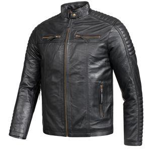 PAULGOS Herren Lederjacke Echtes Leder Jacke Echtleder Übergangsjacke Fashion in 3 Farben Gr. S-7XL, Farbe:Schwarz, Größe:6XL