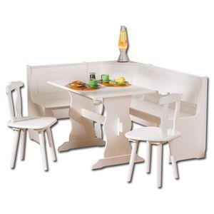 Eckbank Eckbankgruppe Bank Esstisch 2 Stühle Küche Esszimmer Donau Massiv weiß