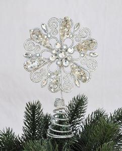 Christbaumspitze Blume Metall Glitter 21 x 12 cm Glitzer Weihnachtsbaum Spitze, Farbe:Silber