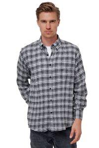 Herren Kariertes Flanell Hemd Button-Down Kragen Vintage Holzfäller Freizeithemd, Farben:Blau, Größe Hemd:XL