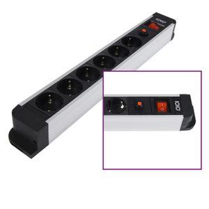 Aluminium 6-fach Steckdosenleiste 6 x Schuko mit Überlastschutz Schalter