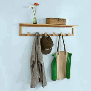 SoBuy® Flurgarderobe,Wandgarderobe,Handtuchhalter aus Bambus,FHK06-N