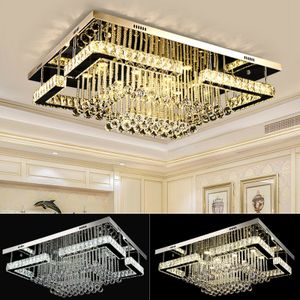 Deckenleuchte LED Kristall Kronleuchter Deckenlampe Dimmbar Luxus Rechteck Lüster Decken Beleuchtung 60cm