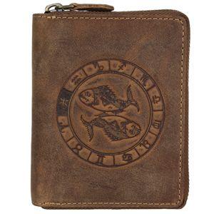 Greenburry Geldbörse Herren Leder braun antik Vintage mit Sternzeichen Prägung Portemonnaie mit Reißverschluss 821A-FISCHE