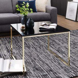 WOHNLING Couchtisch RIVA 60x50x60 cm Metall Holz Sofatisch Schwarz / Gold   Design Wohnzimmertisch quadratisch   Stubentisch mit Metallgestell   Kaffeetisch klein   Wohnzimmer Loungetisch modern