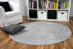 Hochflor Velours Teppich Mona Silbergrau Rund, Größe:200 cm Rund