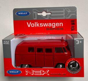WELLY Volkswagen 63 T 1 Feuerwehr-Bus, ca. 11 cm mit Rückzugmotor
