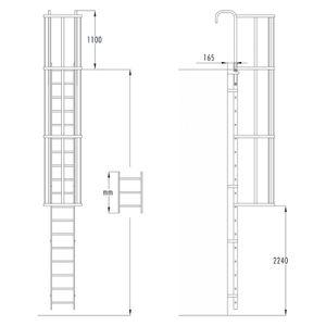 Hailo Steigleiter mit Rückenschutz ALM-11 aus Aluminium + Stahl verzinkt 3,08m