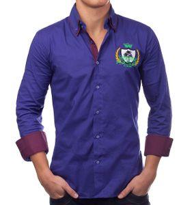 Herren Hemd Slim Fit Langarm Polo Shirt H1386, Farben:Dunkelblau, Größe Hemd:M