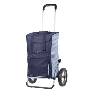 Andersen Einkaufstrolley Royal und 45 Liter Einkaufstasche Dante blau/weiß mit Kühlfach, Einkaufswagen Gestell aus Aluminium, klappbar