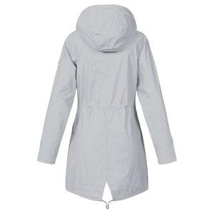 Frauen Solid Rain Jacke Outdoor Plus Size Wasserdichte Kapuze Winddichter lockerer Mantel Größe:XL,Farbe:Grau